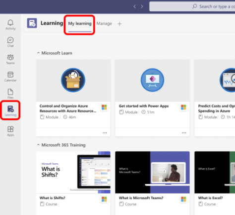 Use the My Learning tab to browse and search for learning content.