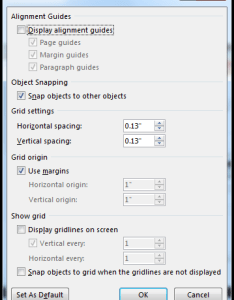 Word grid and guides dialog box also snap charts pictures objects to  align or format them rh support office
