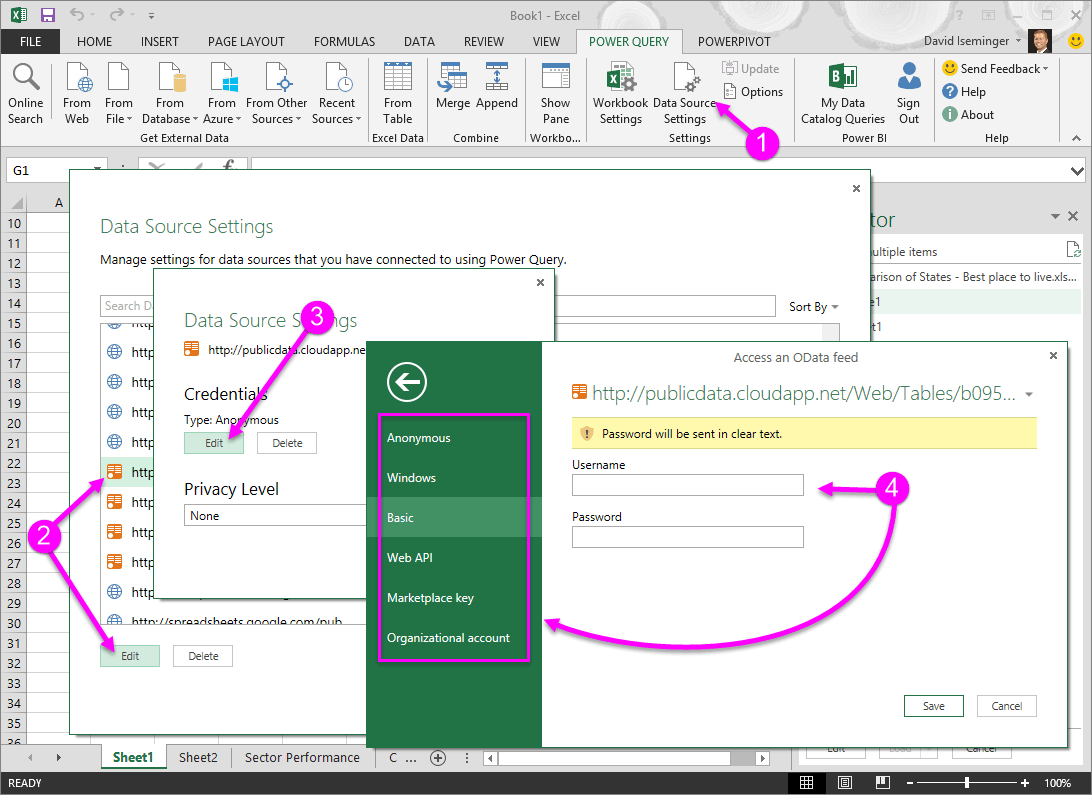 Data Source Settings Power Query