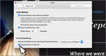 Save dialog box with options to embed fonts