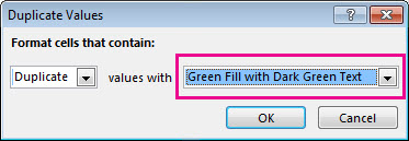 Duplicate Values dialog box