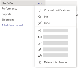 Hide or pin a channel in Teams.