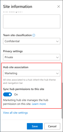Associate to a hub view in the site information panel