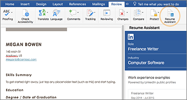 Resume on the left side of the screen and the Resume Assistant pane on the right side