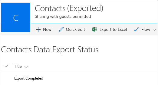 SharePoint list with record titled Export Completed