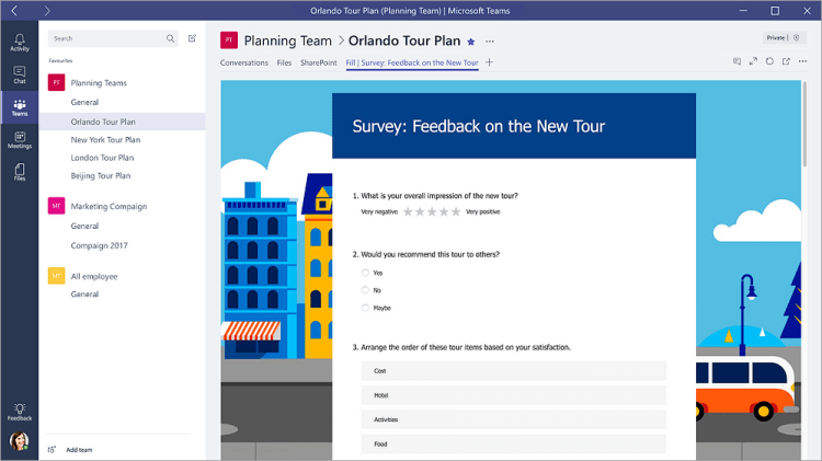 "Forms tab in Microsoft Teams that shows a form in ""Fill"" mode"