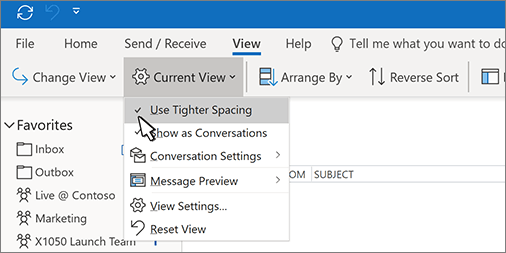 Current View menu expanded with Use Tighter Spacing option selected