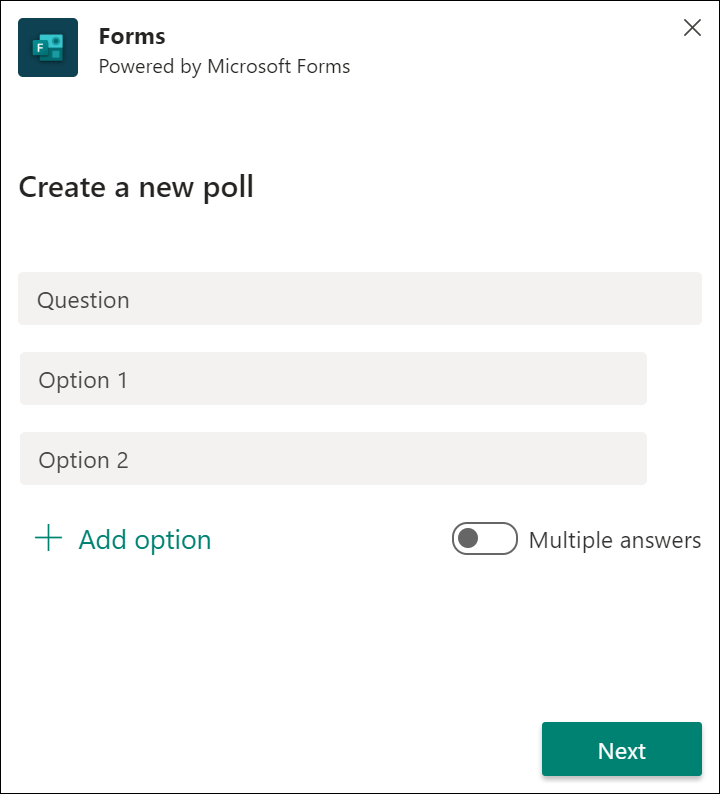 Forms quick poll results in Microsoft Teams