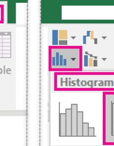 Art showing the pareto chart accessed from insert tab also create  office support rh