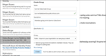 Inbox in the background and Create Group dialog box in the foreground