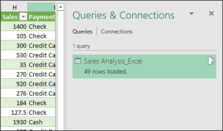 Power Query Queries and Connections pane - Manage section of Get & Transform