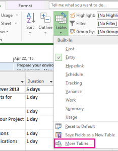 Tables command on the view tab also hide or unhide  column in project rh support office
