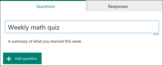 Name and subtitle entered for a new quiz