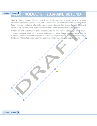How To Add Draft To Word Document : draft, document, Remove, Watermark, Office, Support