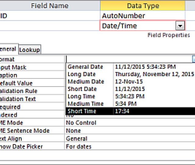 The Format Property Of A Date Time Field