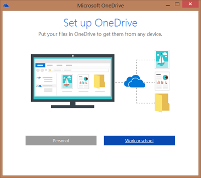 Screenshot of Set Up OneDrive dialog box when setting up OneDrive for Business to sync