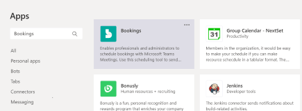 Select Apps then Bookings