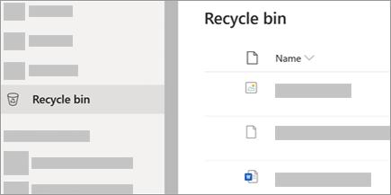 A screenshot showing the Recycle Bin tab in OneDrive.com.