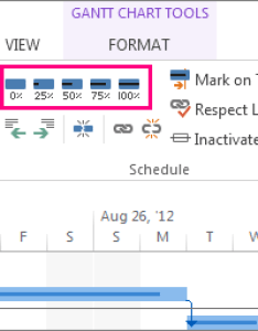 Task complete bars on the format tab also track percent for tasks project rh support office