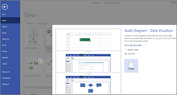 First page of the Audit diagram template wizard