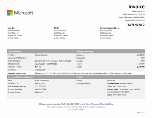 Understand your invoice for Office 365 for business