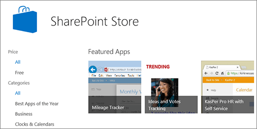 View of SharePoint Store app selection
