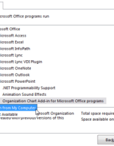 Click run from my computer also install the microsoft office organization chart add in support rh