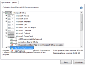 Install the Microsoft Office Organization Chart addin