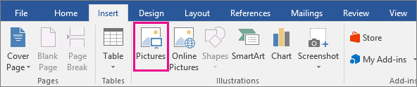 The Pictures icon is highlighted on the Insert tab.