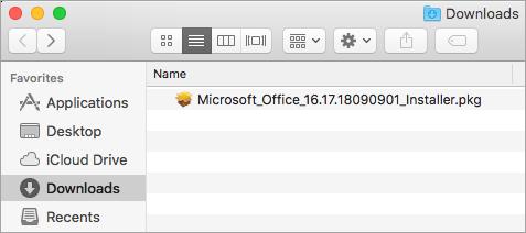 L'icona Download sul Dock mostra il pacchetto di installazione di Office 365