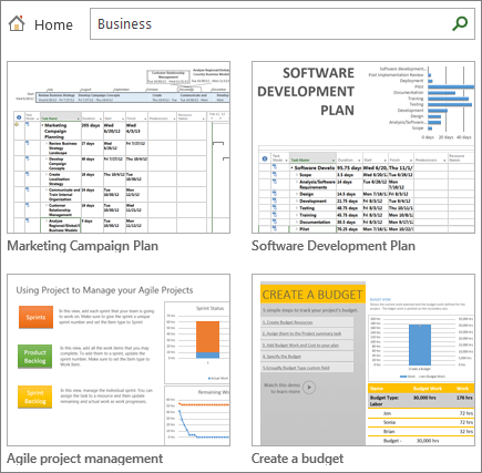 Screenshot of project plan templates in the Business category.