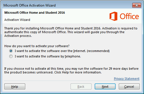 Shows the Microsoft Office Activation Wizard