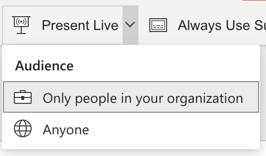 Audience selection for Live Presentation
