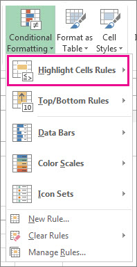 Highlight cell rules