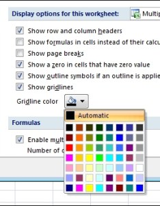 Gridline color settings in the excel options dialog box also change of gridlines  worksheet rh support office