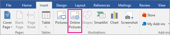 The Online Pictures icon is highlighted on the Insert tab