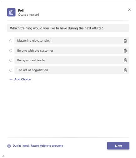 Creating a Poll in the Microsoft Teams Poll app