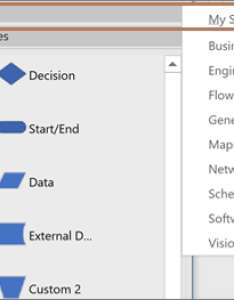 Add one or more stencils using the shapes option also create  data visualizer diagram visio rh support office