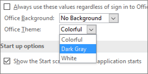 Office Theme pull down menu, Colorful, Dark Gray, and White theme options