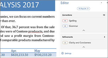 Editor pane showing proofing issues to be corrected in an open Word document