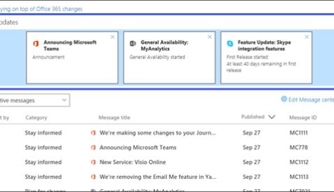Office 365 major updates