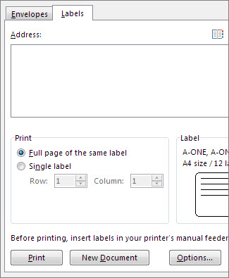 The Envelopes and Labels setup options
