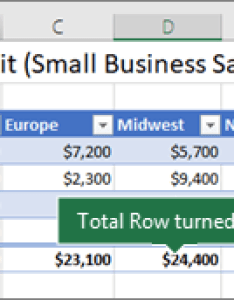 Excel table with the total row turned on also data in an office support rh