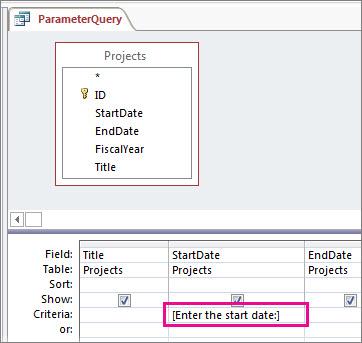 A simple parameter query.