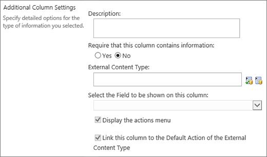 External data column choices