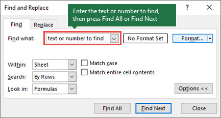 Press Ctrl+F to launch the Find dialog