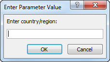 """A parameter prompt with the text """"Enter country/region""""."""