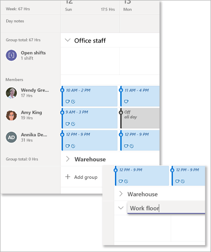 Organize shifts by groups in Microsoft Teams Shifts