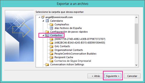 Elija los contactos que desea exportar.