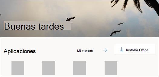 Captura de pantalla de la página principal de Office.com después de iniciar sesión